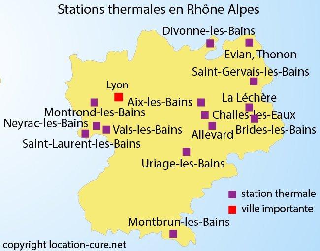 Carte des stations thermales dans la région Rhône Alpes