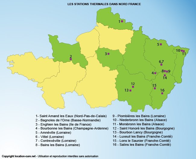 Carte des stations thermales dans le Nord de la France