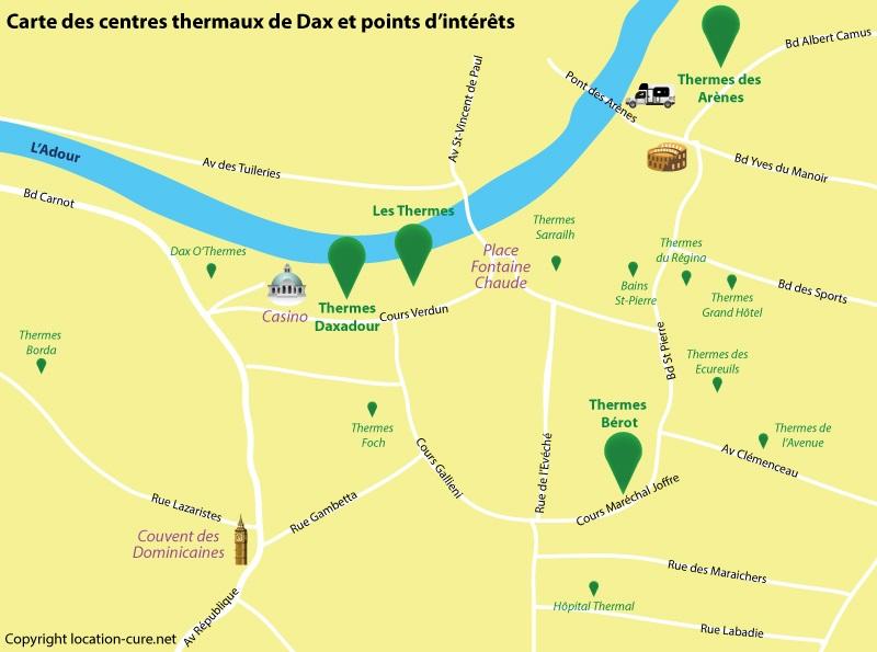Carte de Dax avec les centres pour faire une cure thermale