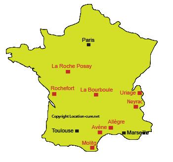 Carte des stations thermales spécialisées en Dermatologie en France
