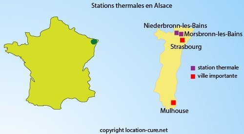 Carte des stations thermales en Alsace