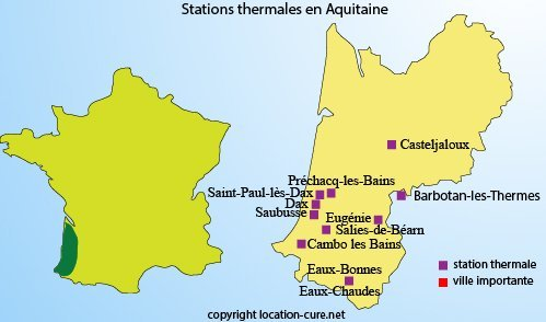 Carte des cures thermales en Aquitaine
