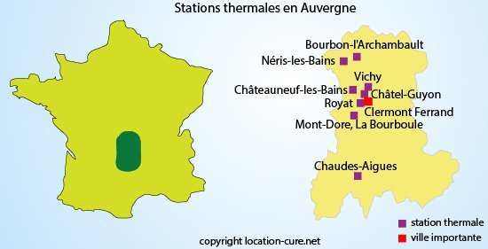 Carte des stations thermales en Auvergne