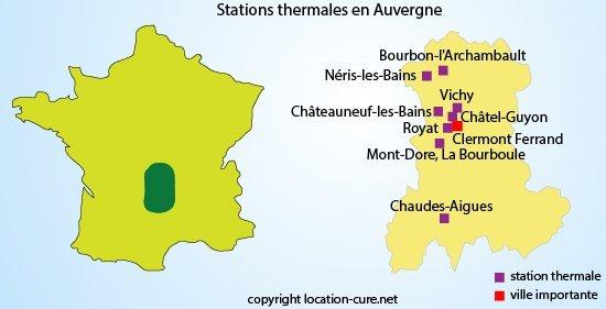 Stations thermales en auvergne liste des villes for Bains thermaux france
