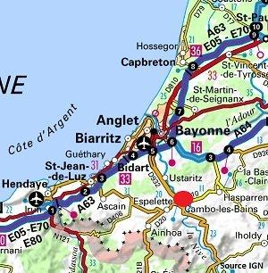Carte de la station thermale de Cambo les Bains dans les Pyrénées Atlantiques