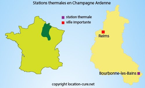 Carte des stations thermales en Champagne Ardenne