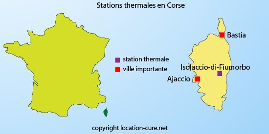 Carte des stations thermales en Corse