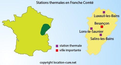Carte des stations thermales en Franche Comté