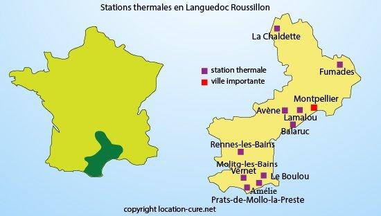 Carte des stations balnéaires dans le Languedoc Roussillon