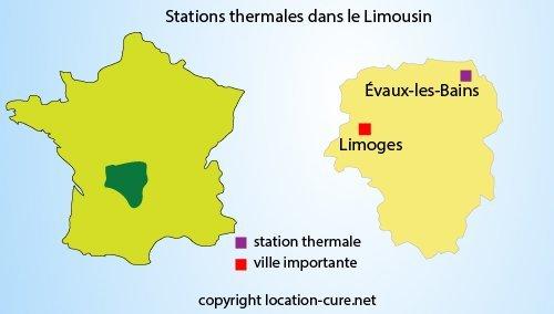 Carte de la station thermale du Limousin
