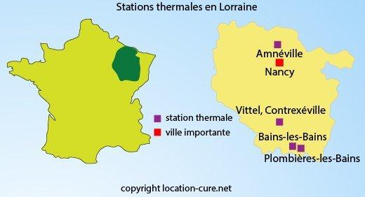 Carte des stations thermale en Lorraine