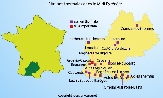 Stations thermales dans le midi pyr n es cure thermale for Bains thermaux france