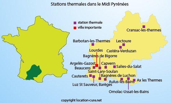 Carte des stations thermales dans le Midi Pyrénées