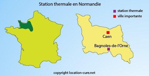 Carte station thermale en Normandie