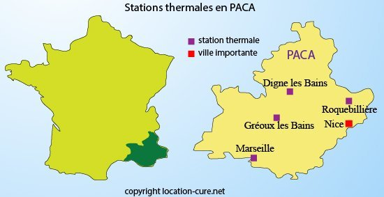 Stations thermales dans le paca villes thermales en for Bains thermaux france