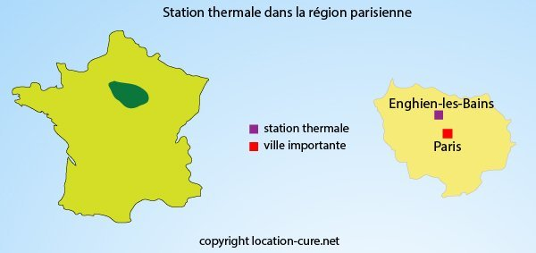 Carte des stations thermales autour de Paris