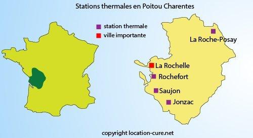 Carte des stations thermales dans le Poitou Charentes
