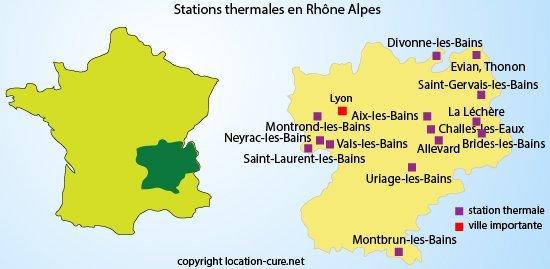 Carte des stations thermales en Rhône Alpes