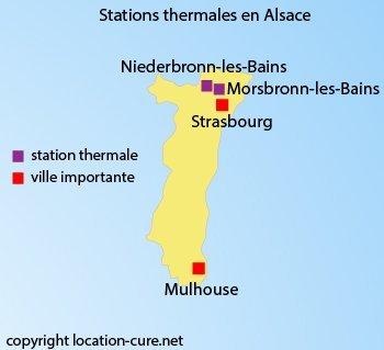 Carte des stations thermales en Alsace