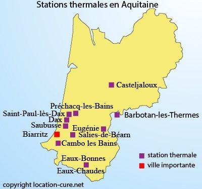 Carte des stations thermales en Aquitaine - sud ouest