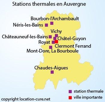 Carte des stations thermales en Auvergne