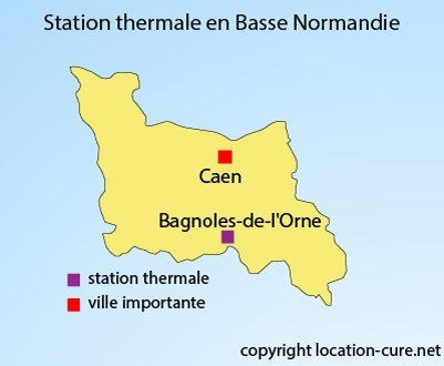 Carte des stations thermales en Basse Normandie