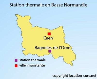 Carte des stations thermales en Basse Normandie