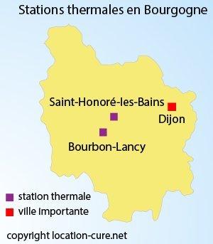 Carte des stations thermales en Bourgogne
