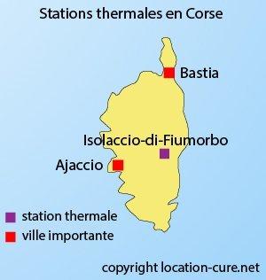Carte des stations thermales en Corse