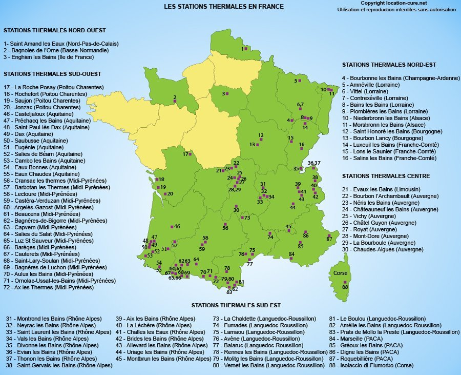 Carte des stations thermales en France