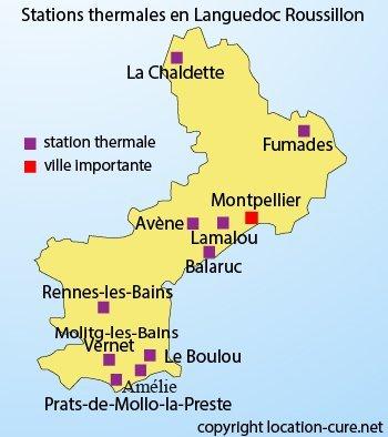 Carte des stations thermales dans le Languedoc Roussillon