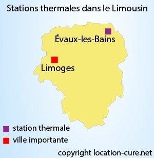 Carte des stations thermales du Limousin