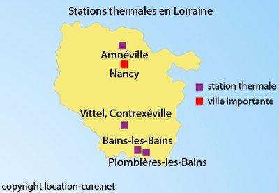 Carte des stations thermales en Lorraine