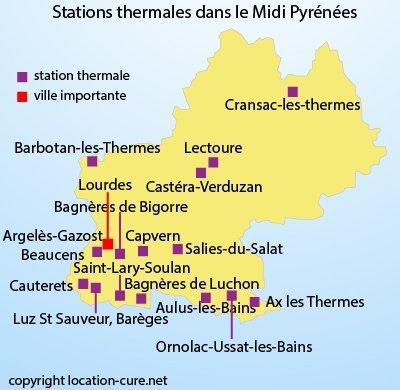 Carte des stations thermales en Midi Pyrénées