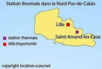 Carte des stations thermales dans le Nord Pas de Calais