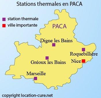 Carte des stations thermales en PACA