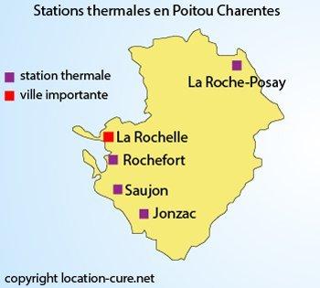 Carte des stations thermales en Poitou Charentes