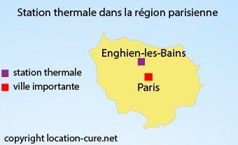 Carte des stations thermales en région parisienne