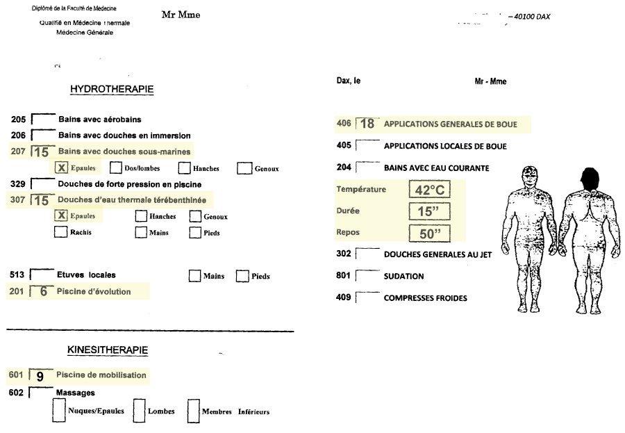 Prescription des soins pour une cure thermale par le médecin thermal