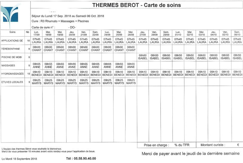 Planning d'une cure thermale au centre thermal Bérot pour une cure en rhumatologie