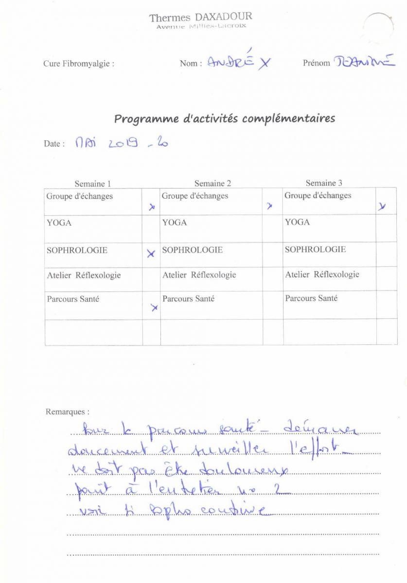 Prescription pour une cure en fibromyalgie à Daxadour
