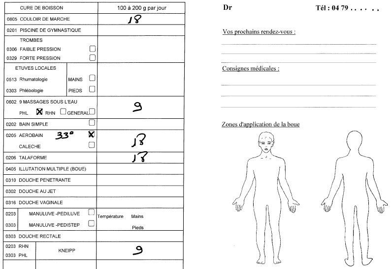 ordonnance médecin thermal cure thermale en phlébologie